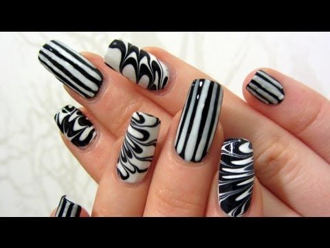 Easy graphic black and white stripes and water marble design nail art tutorial youtube