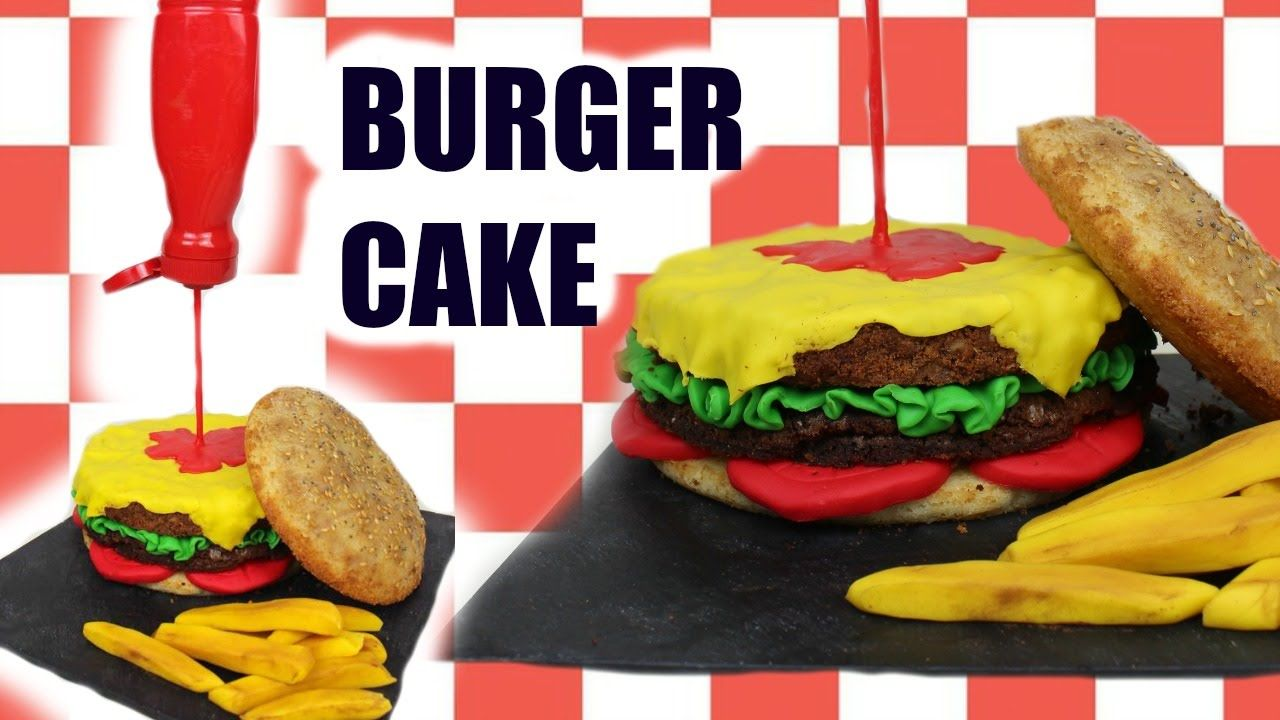 """Learn how to make this """"gravity defying"""" hamburger cake with this easy step by step video!"""
