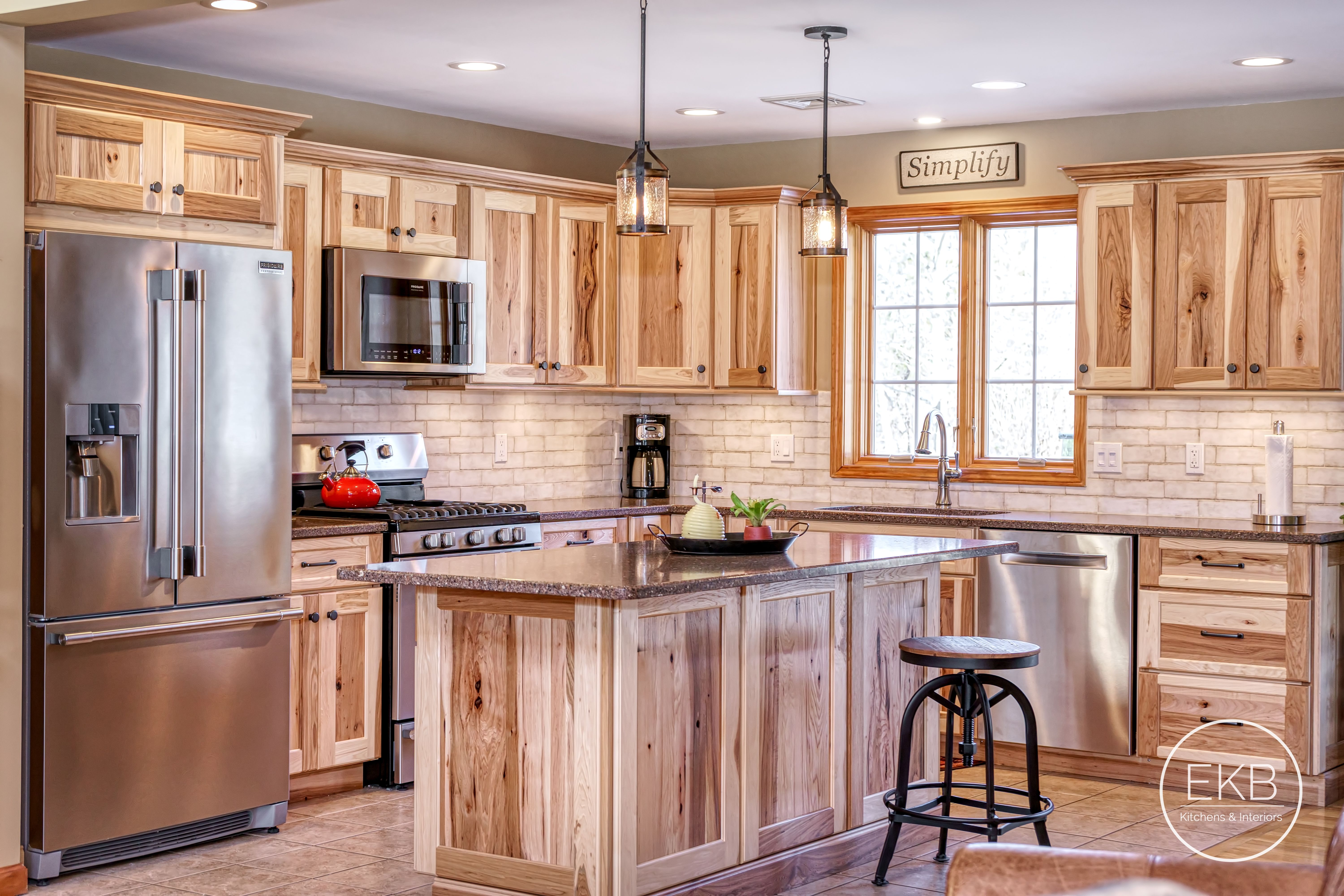 """Shiloh Hickory cabinets with Silestone """"Sierra Madre ..."""