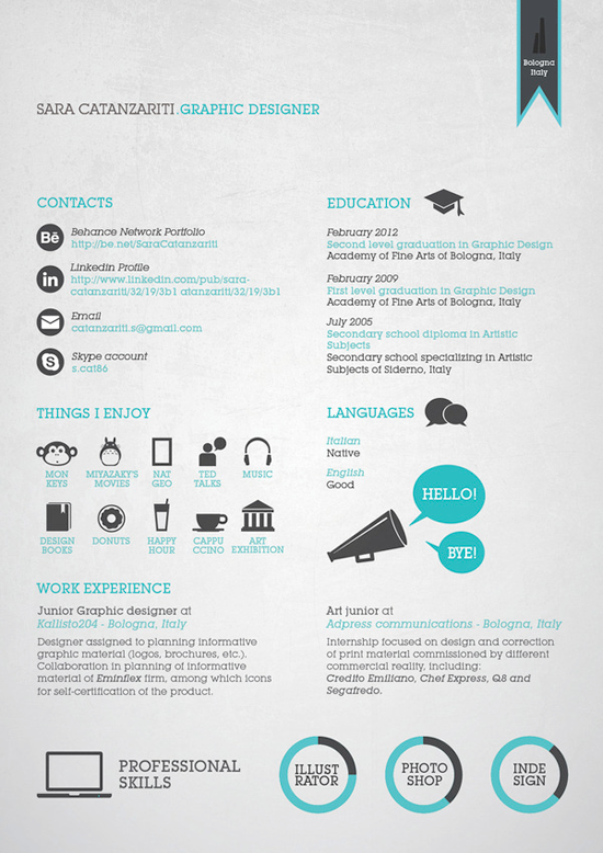 Sara Catanzariti Resume Graphic Design Resume Resume Design Creative Graphic Resume