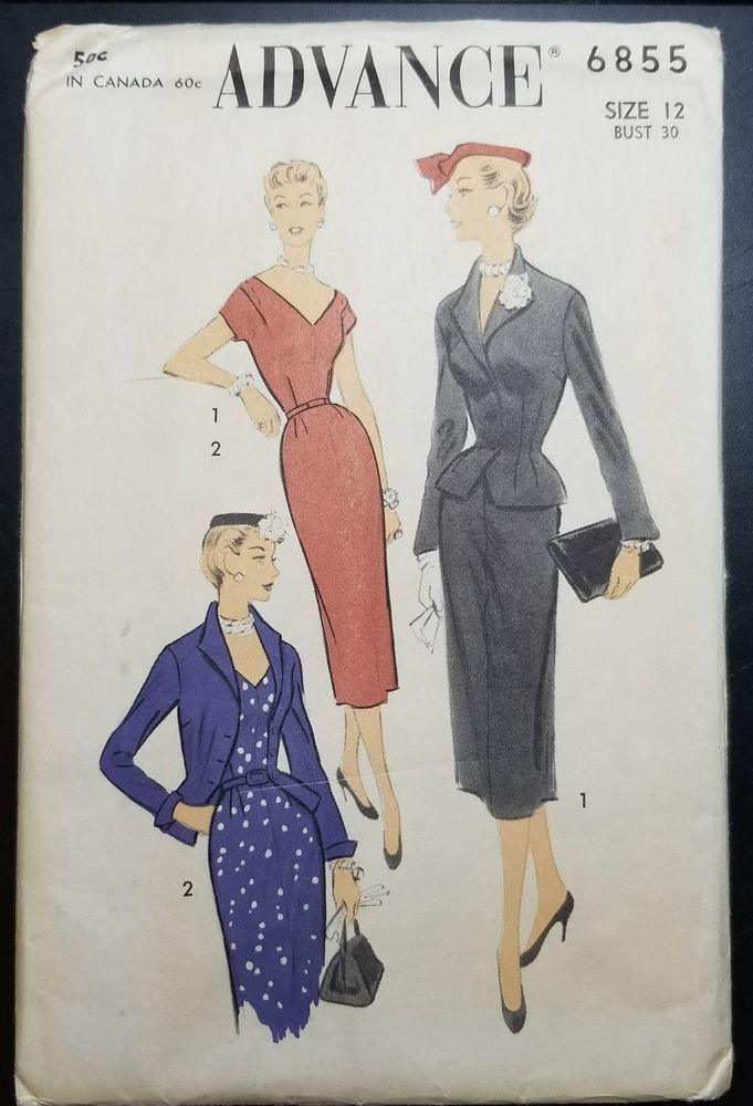 VTG 1954 ADVANCE ORIGINAL DRESS PATTERN 6855 SZ 12 UNCUT FACTORY FOLDED #Advance