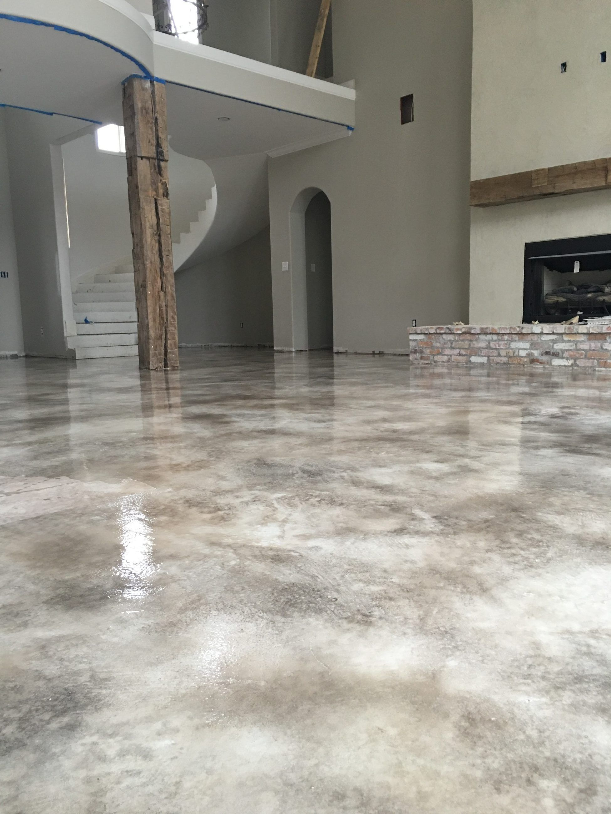 Product Concrete Flooring : Micro topping concrete overlay with stain and sealed