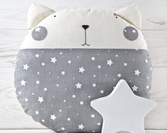 Stars Nursery Decor, Cat Toy, Decorative Baby Pillow for Kids Room, Gray Cushion, Cute Animal Pillow, Baby Shower Gift, Floor Cushion
