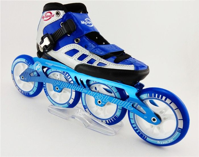 Adults Children Professional Inline Speed Skating Shoes Blue and White  Speed Skating Support Roller Skates patines Roller Women 388c9d45e9