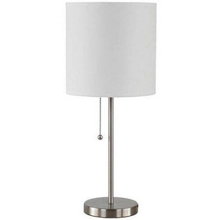 Mainstays Stick Table Lamp With Shade Cfl Bulb Included White Lamp White Desk Lamps Cfl Bulbs