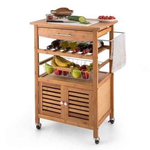 Camarera carro cocina madera encimera armario botellero for Mesa cocina frutero