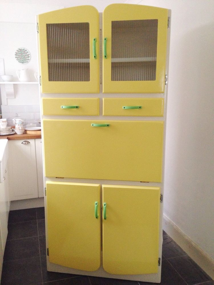 Vintage Kitchenette Cabinet 1950S/1960S Yellow Cupboard ...