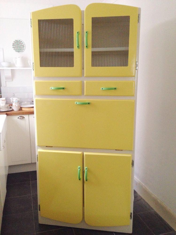 Vintage Kitchenette Larder Cabinet Ribbed Glass Doors Pull Down