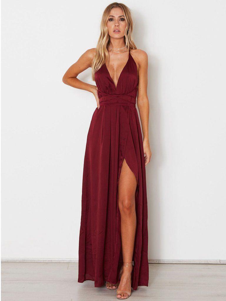 aline spaghetti straps prom dresses custom burgundy long prom