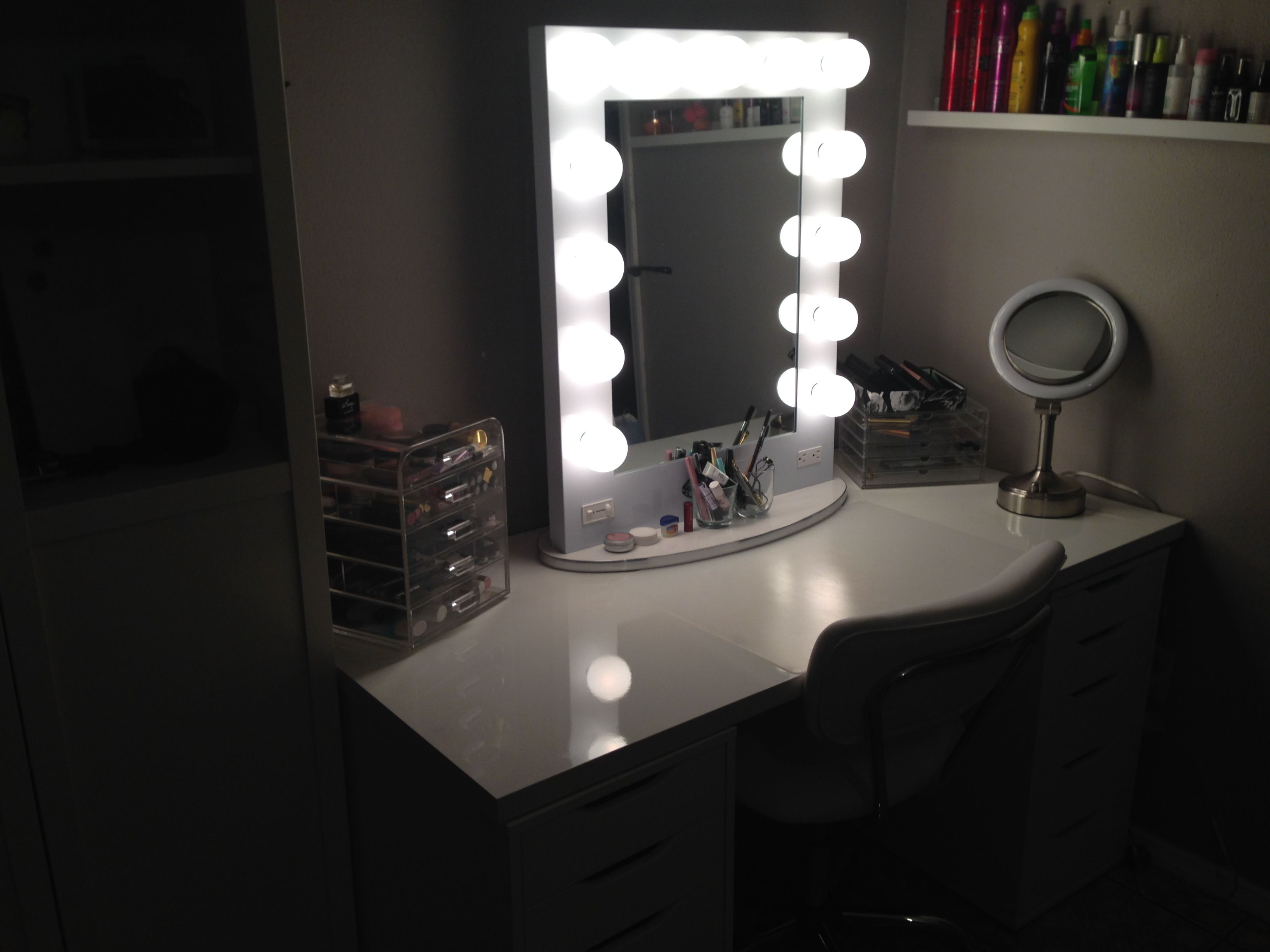 My vanity, just missing the brushes. Ikea Linnmon table