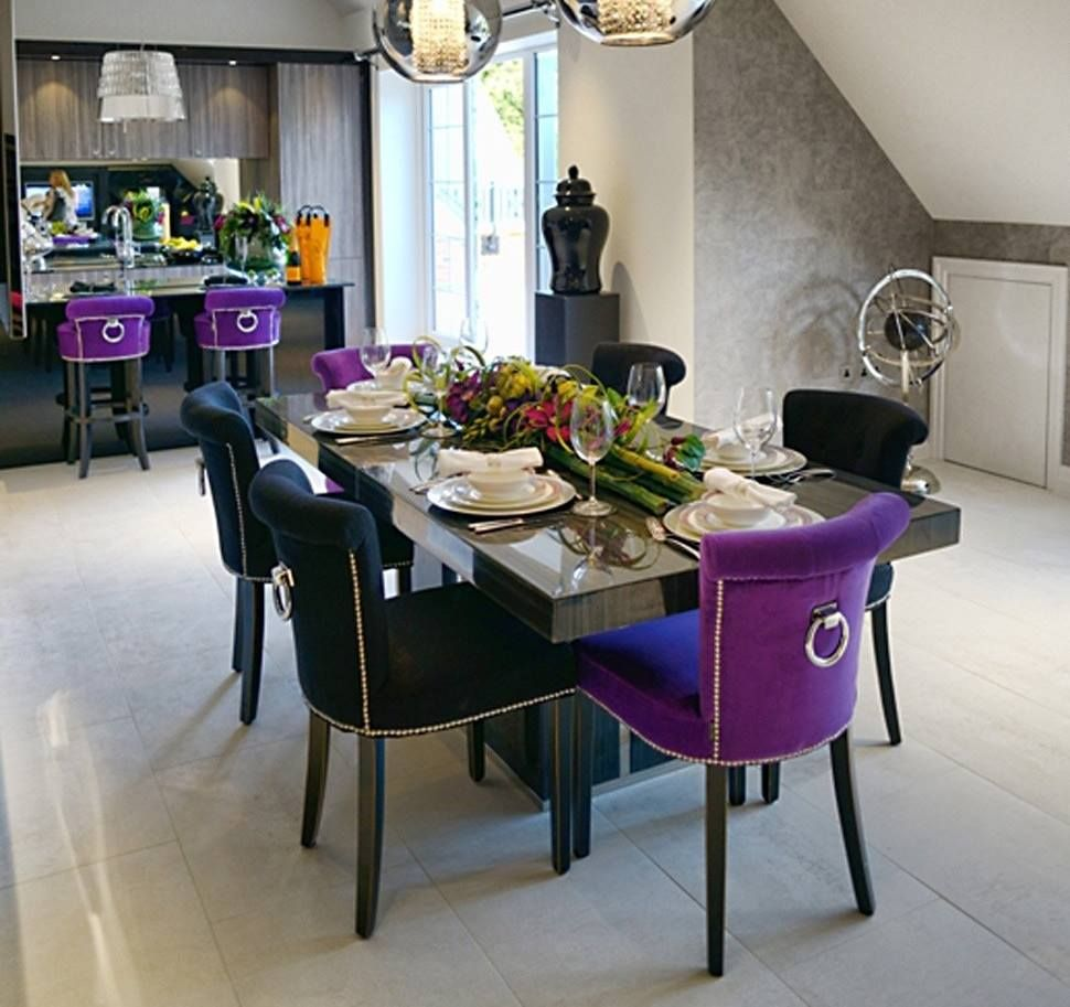 Napoli Dining Chairs Finished With Fantastic Velvet Eu Made With Great Care For The Quality With Stylish Knoc Purple Dining Room Dining Purple Dining Chairs