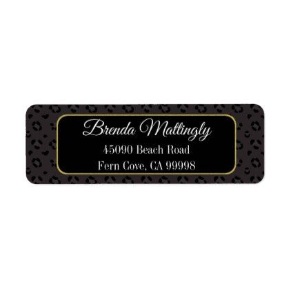 Chic Black Panther Leopard Gold Return Address Label Return address - sample address label