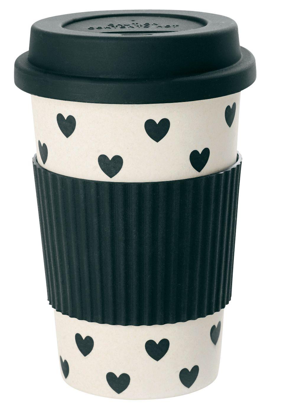 Miss Etoile Travel Mug Bamboo Melamine Black Hearts Mia
