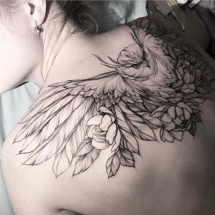 43d0c994873db (kestrel skull) longline concept Neo Tradicional Tattoo, Owl Tattoo Back, Wings  Tattoo