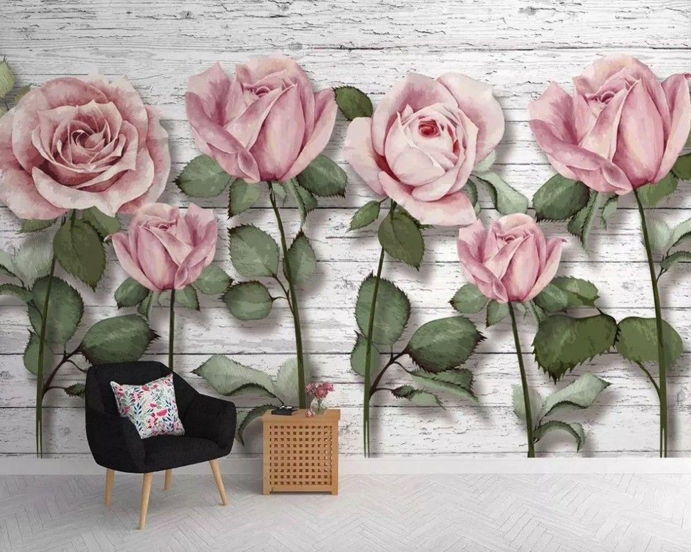 3D Look Pink Roses Wallpaper Mural Rose wall, Wall