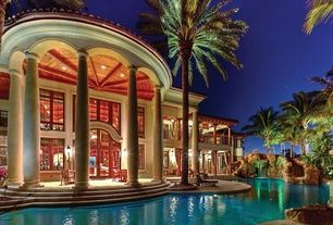 Mediterranean Swimming Pool with Transom window, French doors, Fountain, exterior stone floors