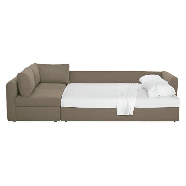 Room Board Oxford 93 Pop Up Platform Queen Sleeper W Left Arm Storage Chaise
