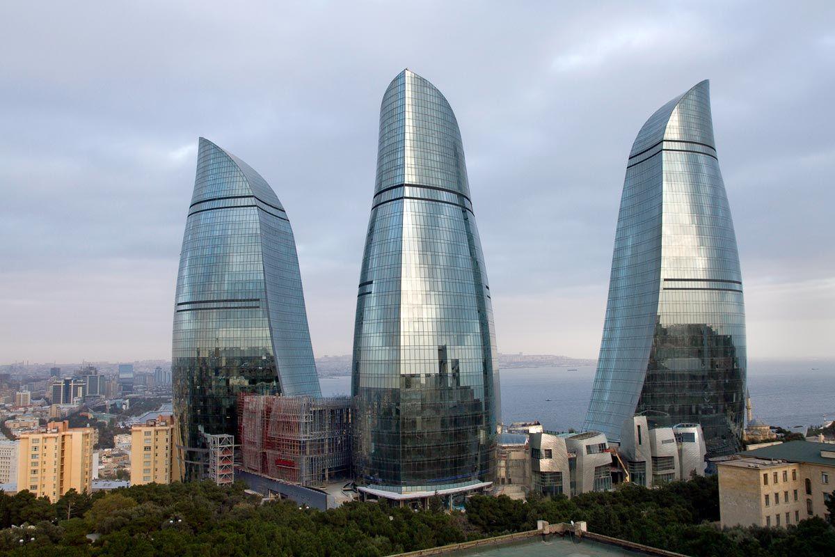The Flame Towers Baku Azerbaijan Skyscraper Futuristic Architecture Architecture
