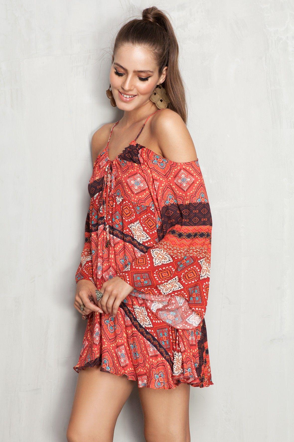 vestido ombro vazado estampado shadow - Novidades | Dress to