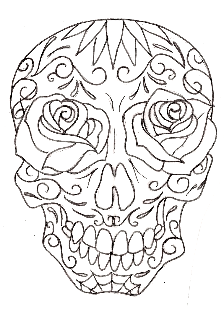 Free skull tattoo designs to print - Sugar Skull Line Drawing 10 Sugar Skull Tattoos