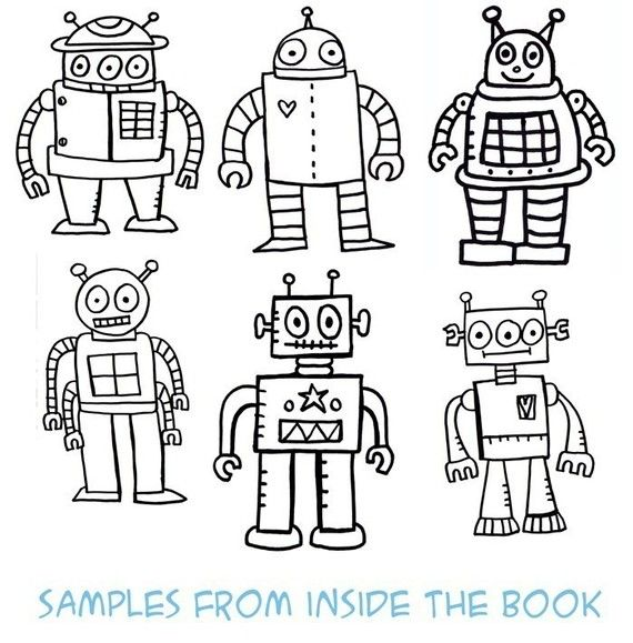 Pdf The Robot Coloring Book By Jelene On Etsy Coloring Books