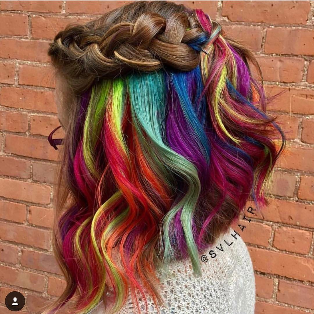 hidden rainbow hair beauty