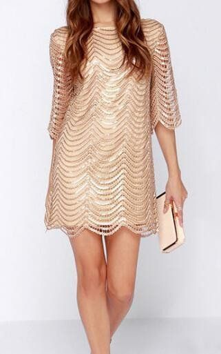 Sequin Scalloped Hem Dress
