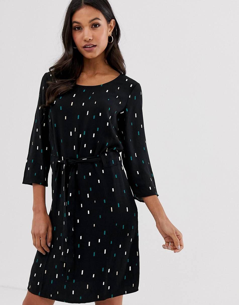 vila – gepunktetes kleid mit bindegürtel   kleider damen