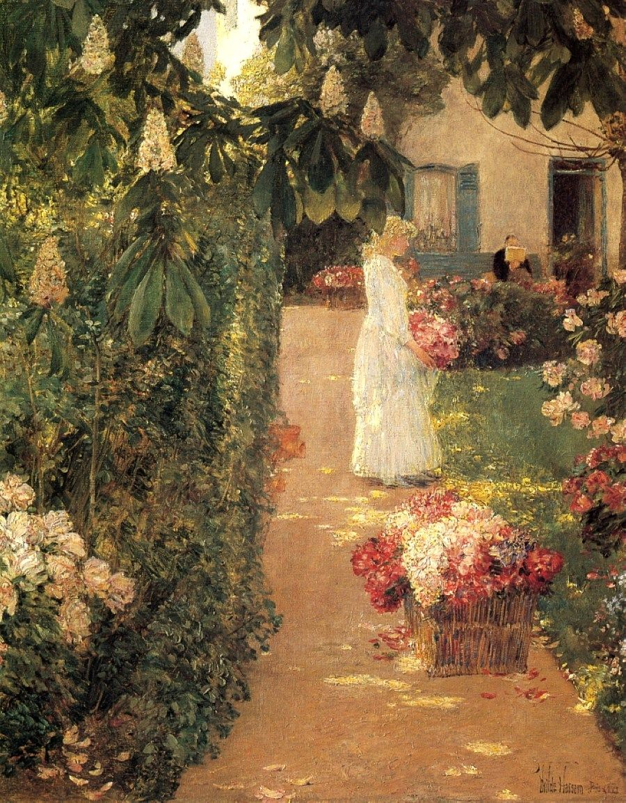 Frederick Childe Hassam (1859-1935). Gathering Flowers in a French ...
