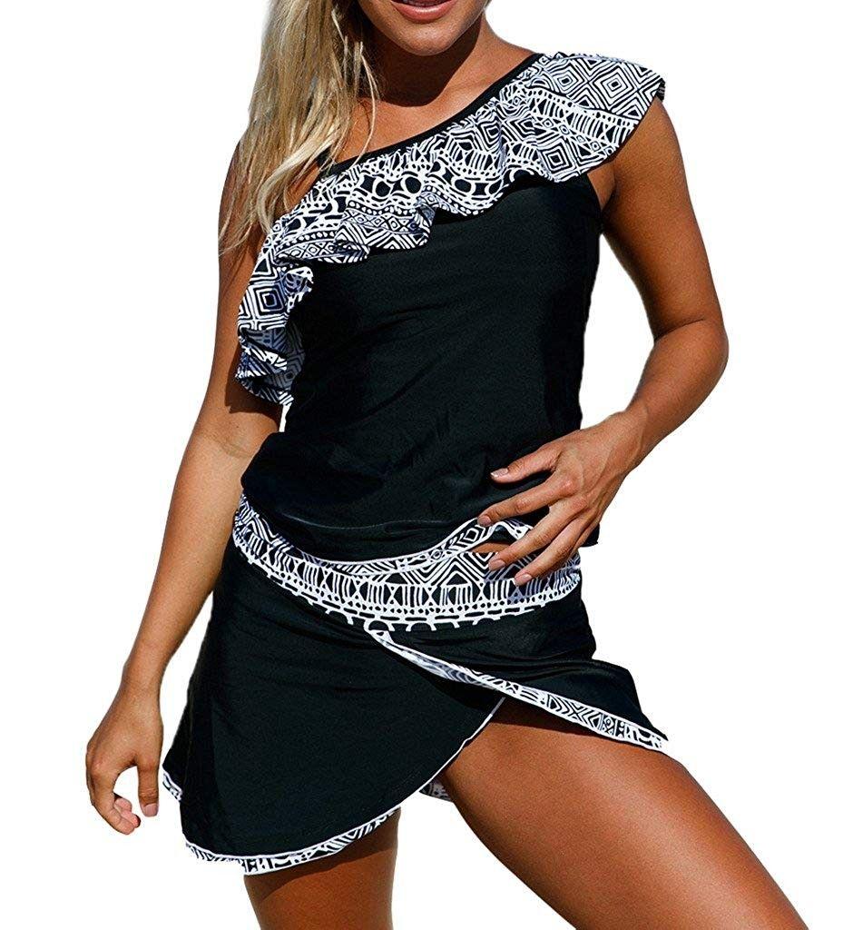 Womens Ruffle One Shoulder Top and Pantskirt Tankini Swimsuit BK - Multicoloured - C417Z5L0M7S - Spo...