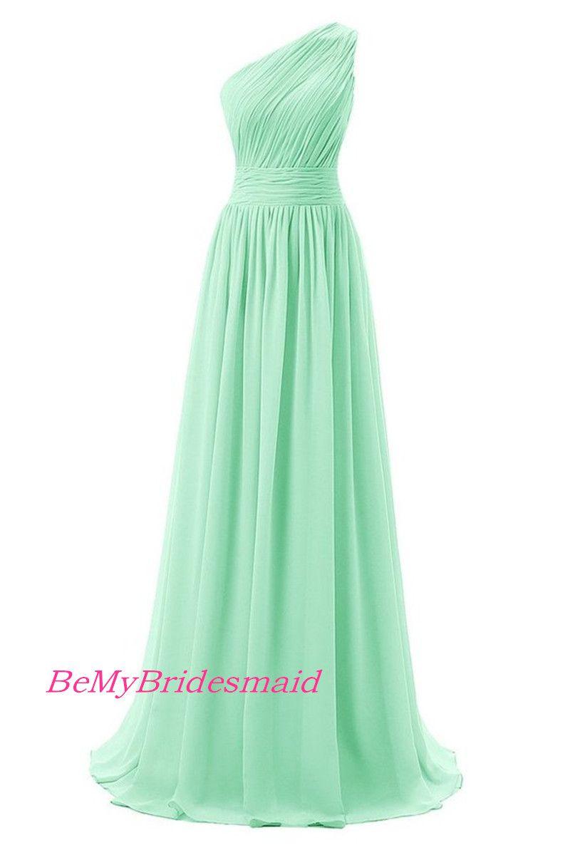 Simple One Shoulder Chiffon Mint Bridesmaid Dresses One Shoulder Prom Dress Party Gowns Mint Green Bridesmaid Dresses One Shoulder Prom Dress Mint Bridesmaid Dresses [ 1200 x 800 Pixel ]