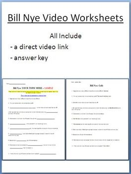 Bill Nye Video Worksheets (FOUR) - Electricity and Optics