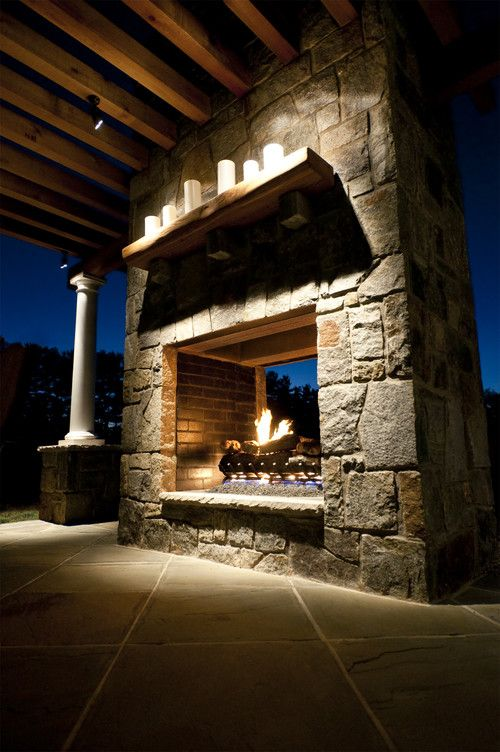 Match homes exterior rock trim to pass through fireplace - Ideas to cover fireplace opening ...