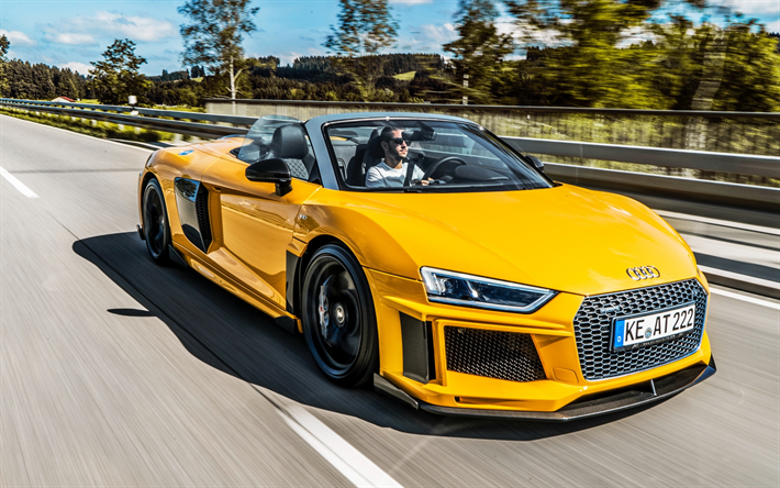 Download Wallpapers Audi R8 Spyder Abt 2017 Yellow R8 Sports Car