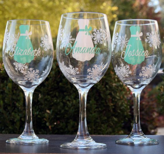 Winter Wonderland Wedding Glasses In Tiffany Blue And White Hannah