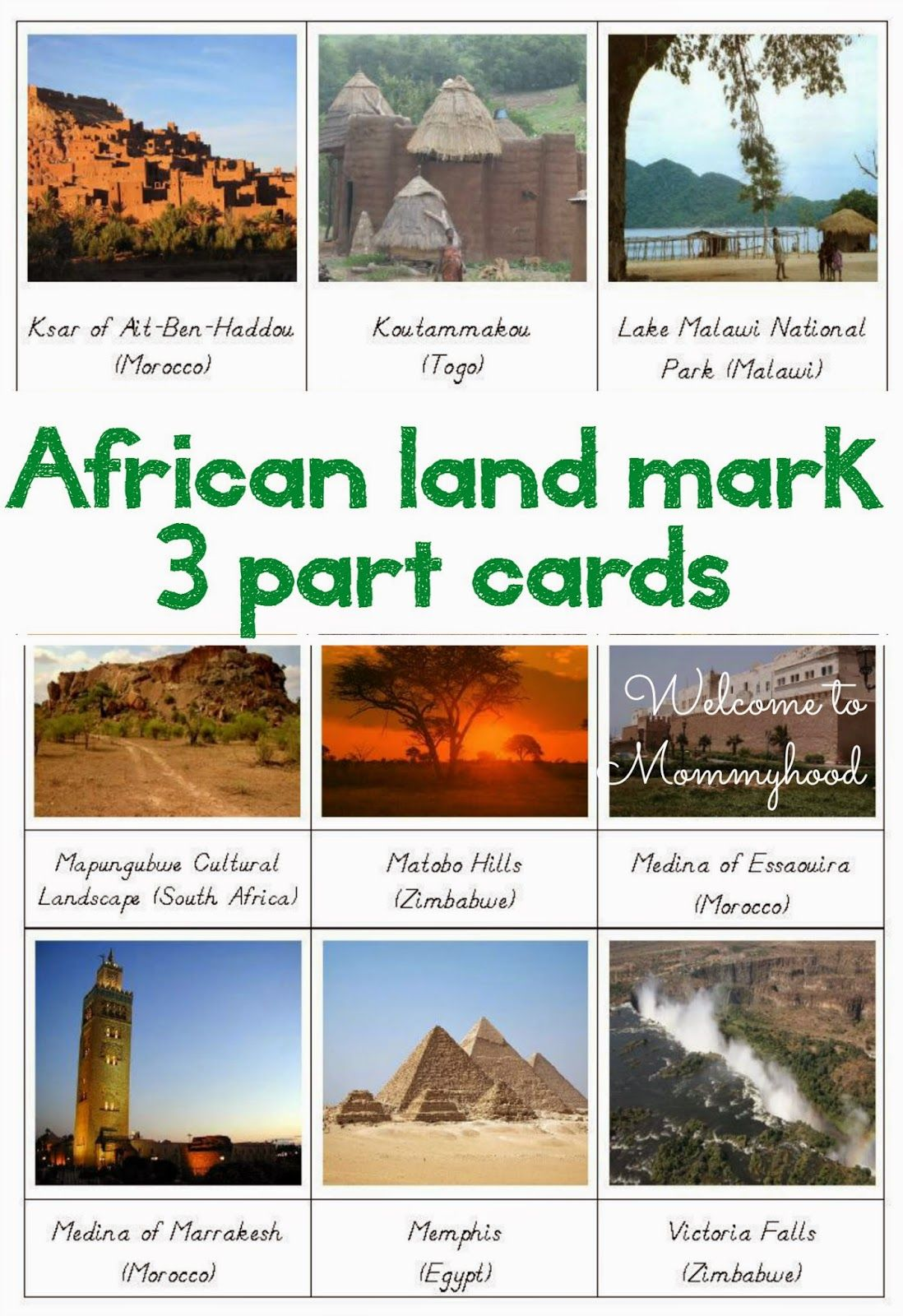 African Landmarks And African Flag Cards
