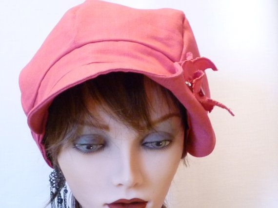 Hats, ladies Pink Newsboy Cap
