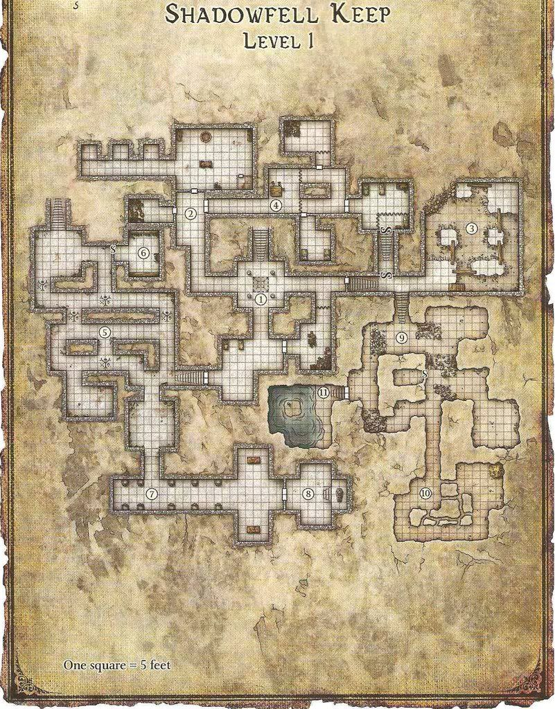 Shadowfell Keep Level 1   Fantasy map, Dungeon maps