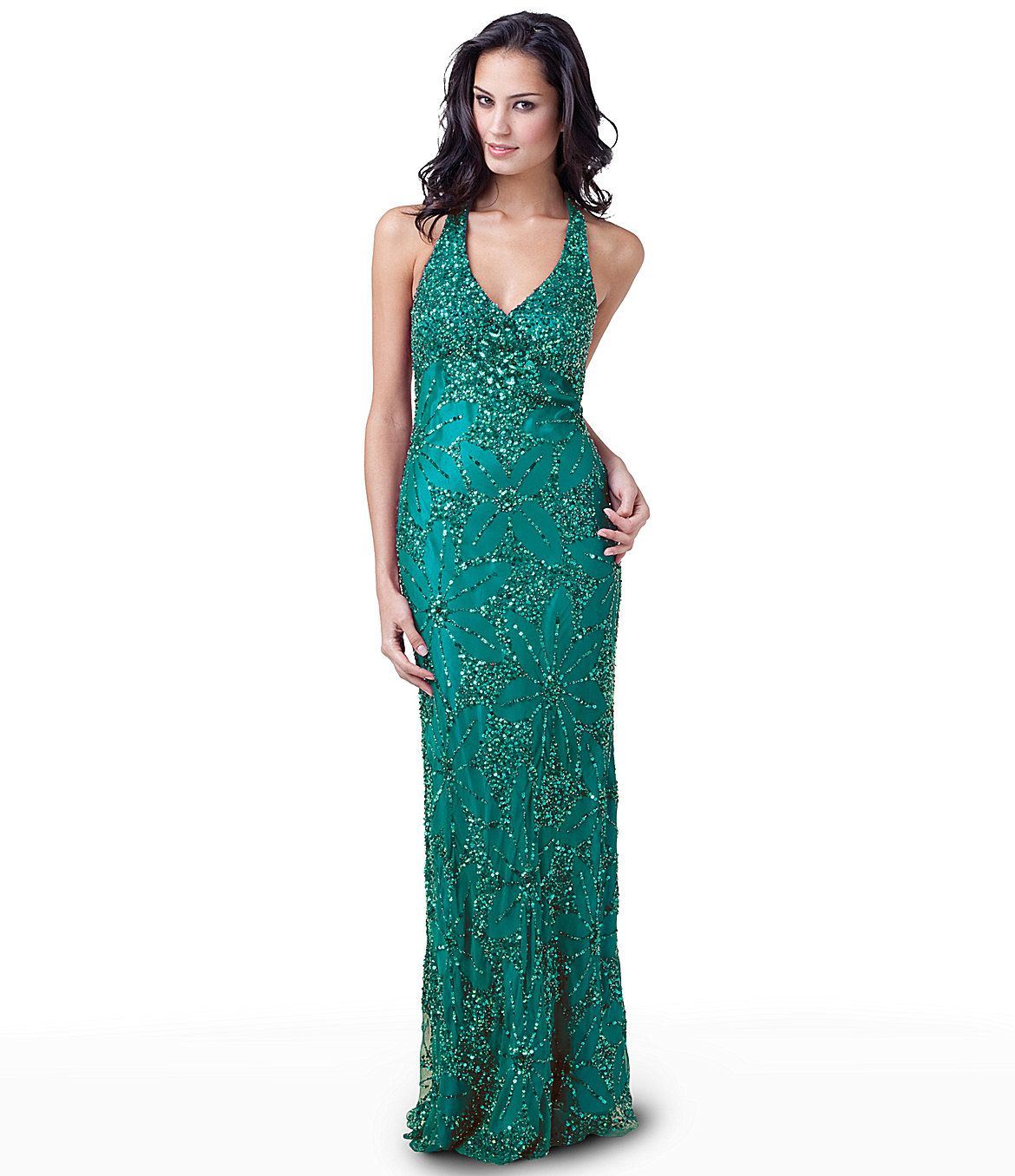 Adrianna Papell for E! Live From the Red Carpet Beaded Halter Gown ...