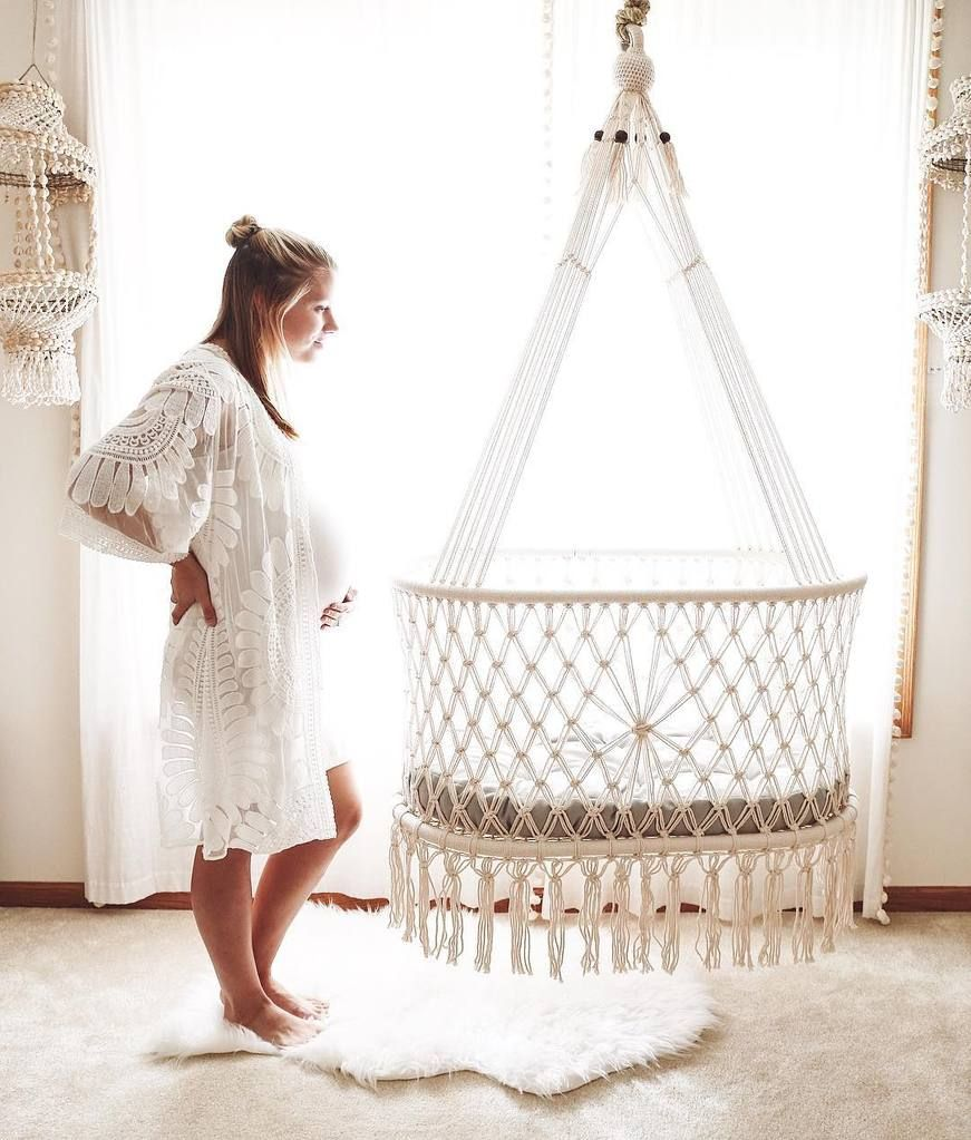 Hanging Crib In Macrame In Cream Hand Woven Wicker Base