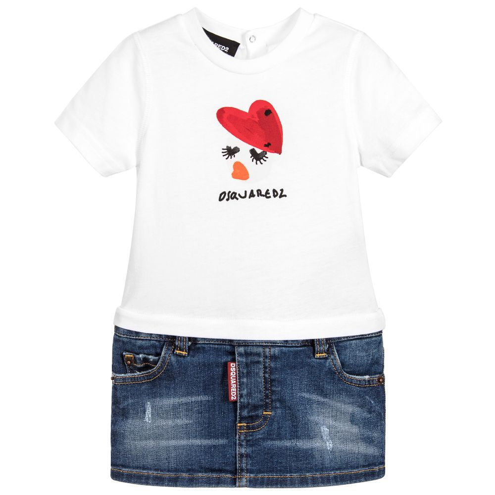 DSquared2 - Baby Girls White & Denim Dress   Childrensalon