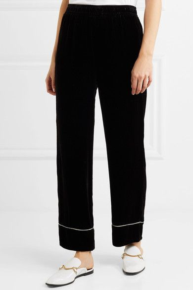 Professional For Sale Piped Velvet Wide-leg Pants - Black Ganni Amazing Price Sale Online Super Specials IYc6lu