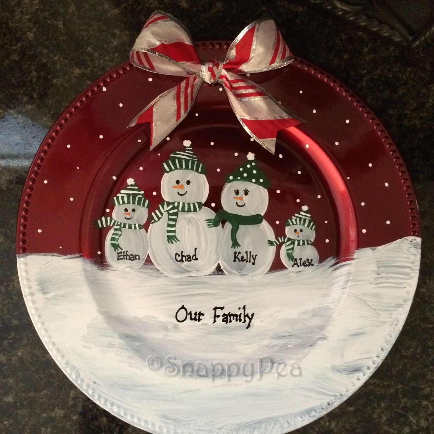 Decorative Christmas Plates For The Wall Personalized Hand Painted Decorative Snowman Family Charger