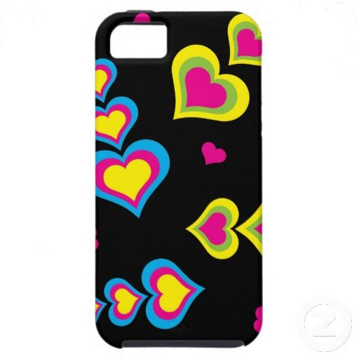 Neon Hearts on Black Case-Mate Vibe iPhone 5 Case