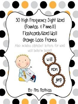 High Frequency Sight Word Flashcards/Word Wall {Fountas & Pinnell