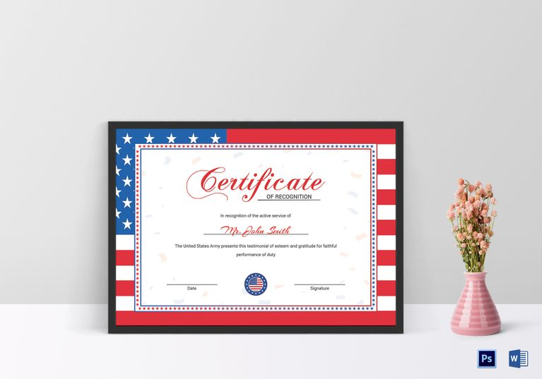 Flag Recognition Certificate Template Pinterest Certificate