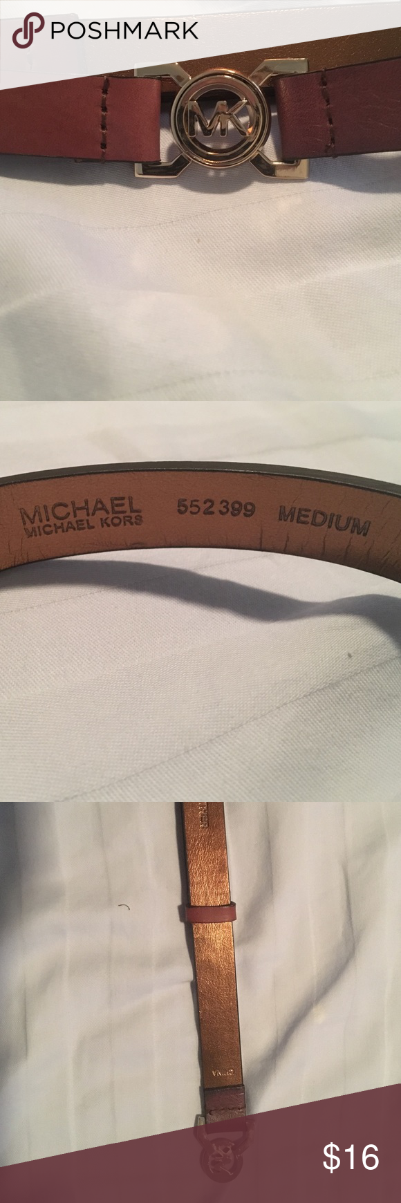 Michael Kors Belt Only used once! Slides to change length!  Everything in my closet is on Ⓜ️erc with free shipping! MICHAEL Michael Kors Accessories Belts