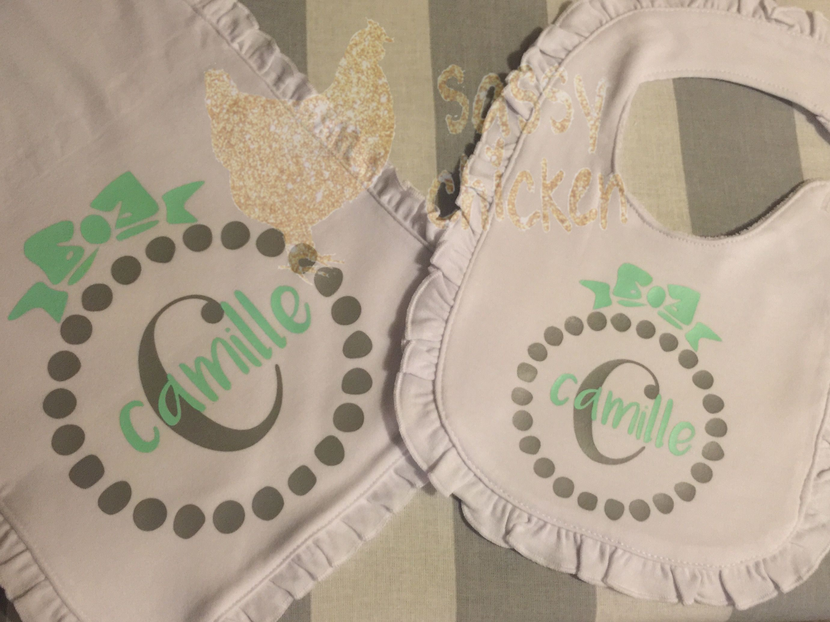 Need a baby gift?  Personalized burp cloth and bib.   https://www.facebook.com/BowHeadBoutique
