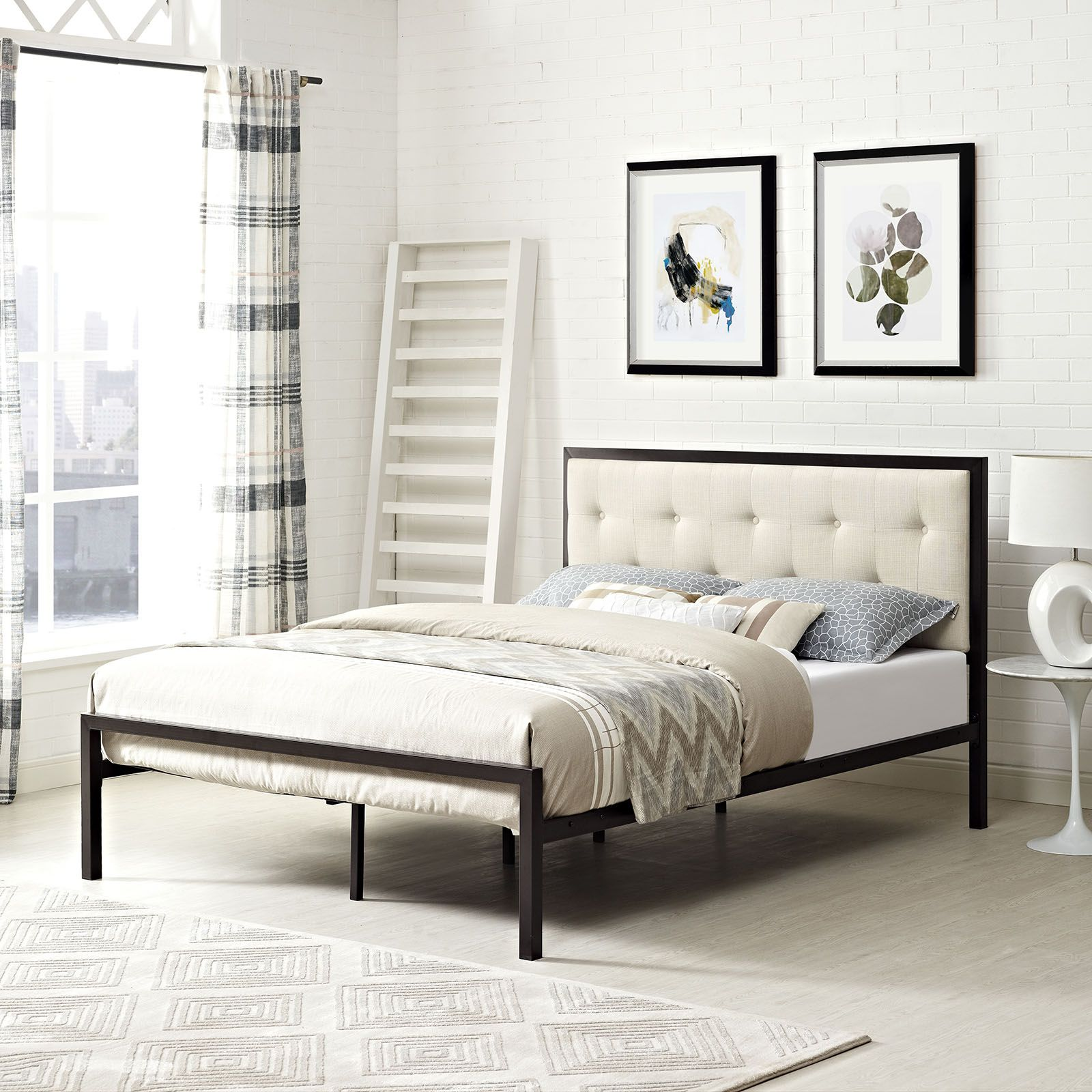 Modway Furniture 5444 Brown Queen Bedframe With Fabric Headboard