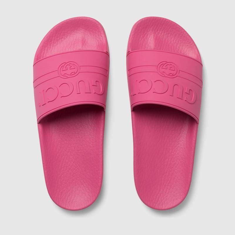 Gucci - Gucci logo rubber slide sandal